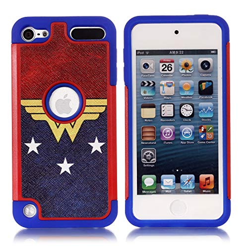 Apple iPod Touch 6th Case, iPod Touch 5 Cover - Female Super Hero Pattern Shockproof Hard PC and Inner Silicone Hybrid Dual Layer Armor Defender Case for Apple iPod Touch 5 6th Generation ()