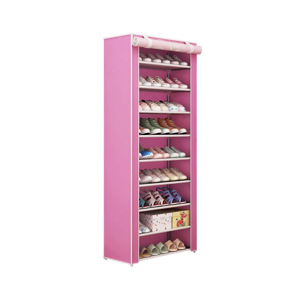 JK furniture 10-Tiers Shoe Organizer,Shoe Rack,Shoes Storage,Shoe Tower Shelves (Pink)
