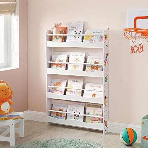 SONGMICS Bücherregal für Kinder, Wandregal, Bücher-Organizer mit 4 Ablagen, für Kinderzimmer, Spielzimmer, Schule, platzsparend, weiß GKR050W01