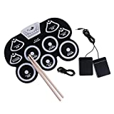 Segolike Portable USB 9 Pads Electronic Roll Up Drum Sticks Kits Musical Instrument - black with white