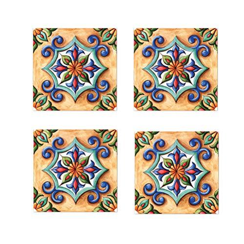 - NEAER 6Pcs/12Pcs Vintage Flower Pattern Tile Stickers Wall Tiles Art Sticker Decal Kitchen Bathroom Living Room Home Decorative,(20x20cm/7.87x7.87)