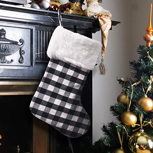EDLDECCO 20.5 inch Christmas Snowy White Faux Fur Black and White Plaid Stocking for Holiday Party Decorations Gift-One Piece