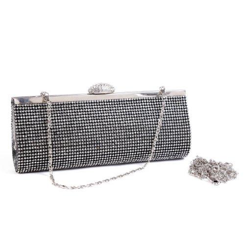 Elegant Rhinestones Clutch Shiny Silver Bags Womens Damara Fully Evening pIwqSPP