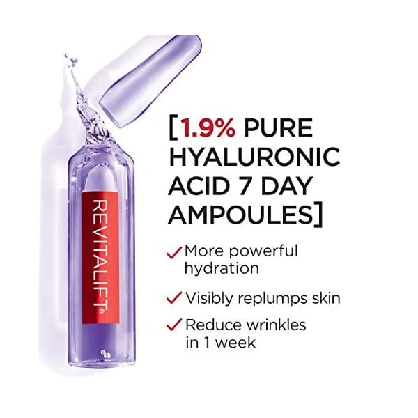 L'Oreal Paris Revitalift Derm Intensives Hyaluronic Acid Serum Ampoules 7 Day Boost Pure Hyaluronic Acid Anti-Aging Ampoules to visibly replump skin in 7 days, 7 Ampoules, 0.28 fl. oz.