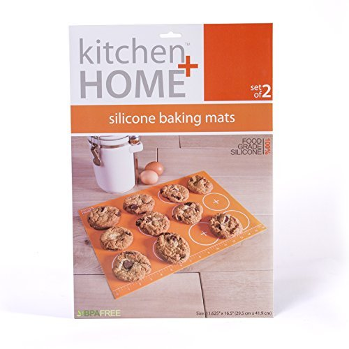 Kitchen + Home Silicone Baking Mats - Set of 2 Non-stick, BPA Free Food Grade Silicone Mat Liners for Half-Size Cookie Sheet with Measurements