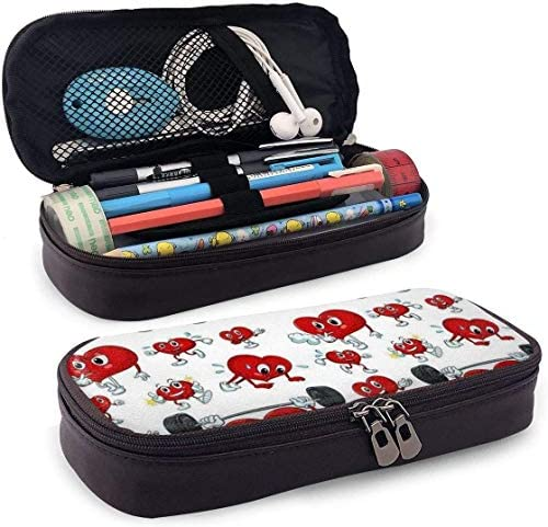 Cartoon Heart Work Out Pencil Pen Case Zipper Bag Stationery Pouch Holder Box Organizer for Middle High School Office College / u199