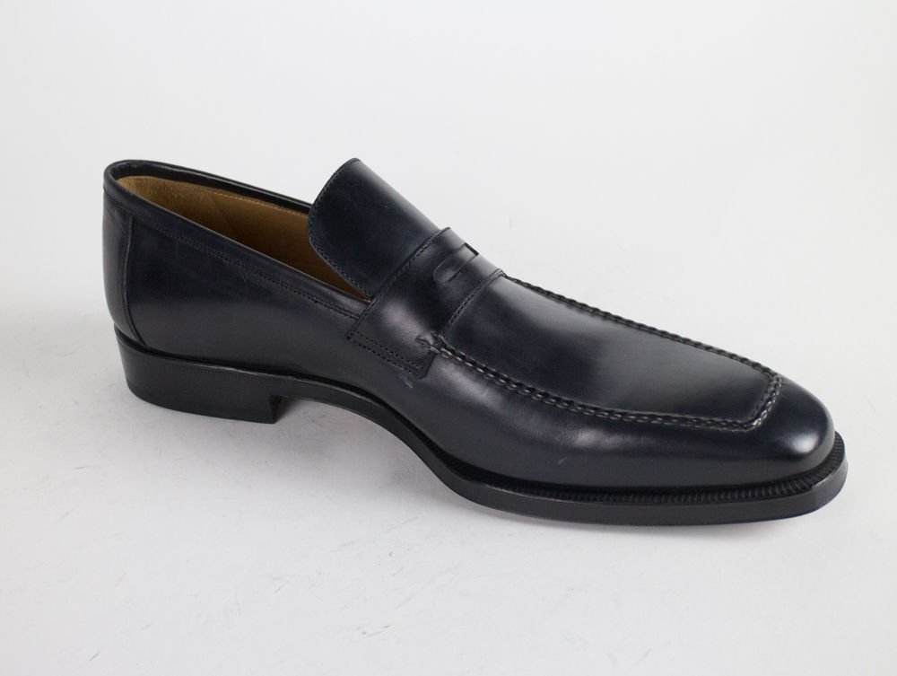 bc2369a3f5508 Amazon.com : sutor mantellassi Navy Blue Leather Penny Loafers Shoes ...