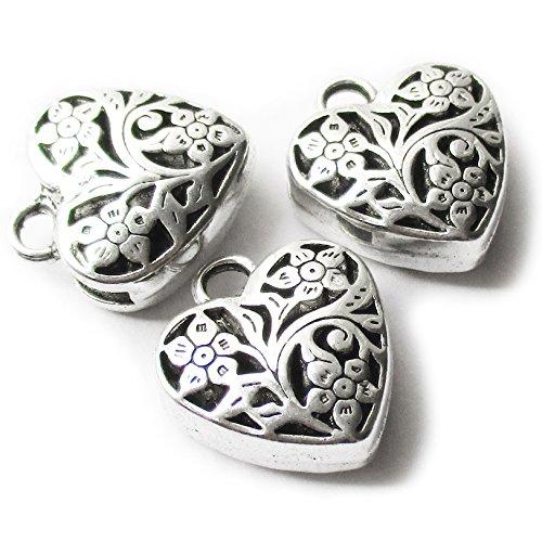 Silver 10mm Heart Beads - 6
