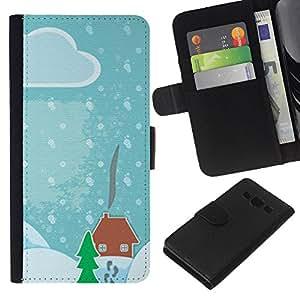 WINCASE Cuadro Funda Voltear Cuero Ranura Tarjetas TPU Carcasas Protectora Cover Case Para Samsung Galaxy A3 - niños de dibujo de Navidad azul nieve