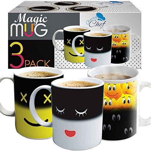 Set of 3 Magic Heat Sensitive Coffee Mugs, Color Changing Heat Cups, 12 oz each, By Chuzy Chef