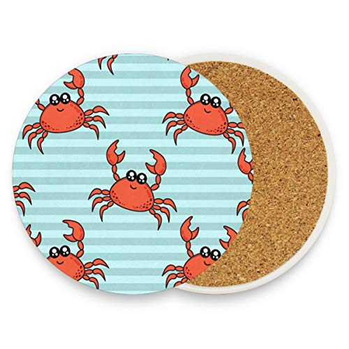 Cute Crabs Coasters, Prevent Furniture From Dirty And Scratched, Round Cork Coasters Set Suitable For Kinds Of Mugs And Cups, Living Room Decorations Gift Set Of 4 ()