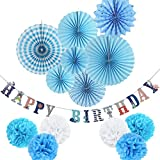 Blue Theme Party Decorations Kit Paper Fans Happy Birthday Banner Pom Poms Flowers for Baby Boy 1st Birthday Party Decorations 14 Pieces SUNBEAUTY
