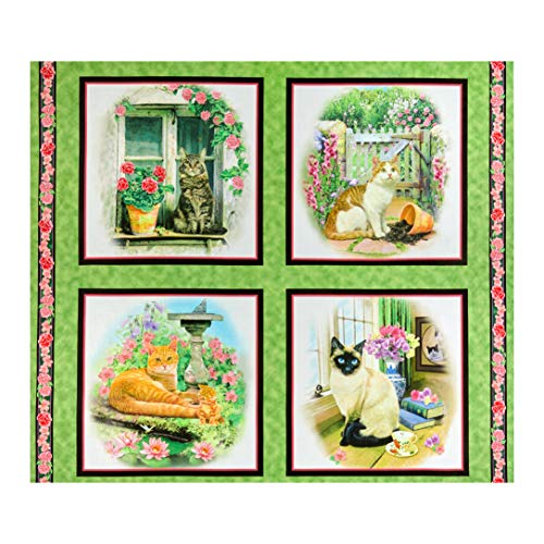 QT Fabrics Fancy Felines Cats Picture Patches 36'' Panel Green Multi