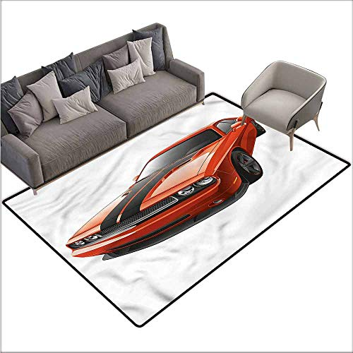 Polyester Rubber Door Mats Boys Room,Modern Muscle Car Exotic 80