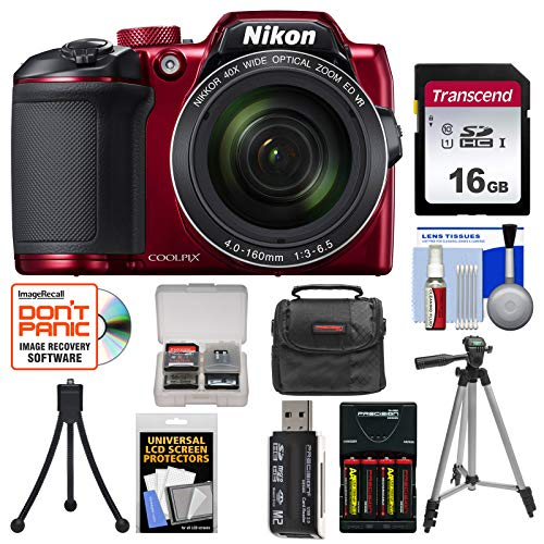 Nikon Coolpix B500 Wi-Fi Digital Camera (Red) with 16GB Card + Case + Batteries & Charger + Tripod + Kit 3 Inch Screen Nikon Coolpix