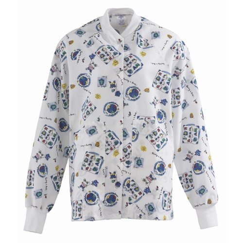 Medline Knit Jacket - 845JEKS - Medline Ladies AngelStat Knit Collar Warm-Up Scrub Jackets,Fun Kids Print,White