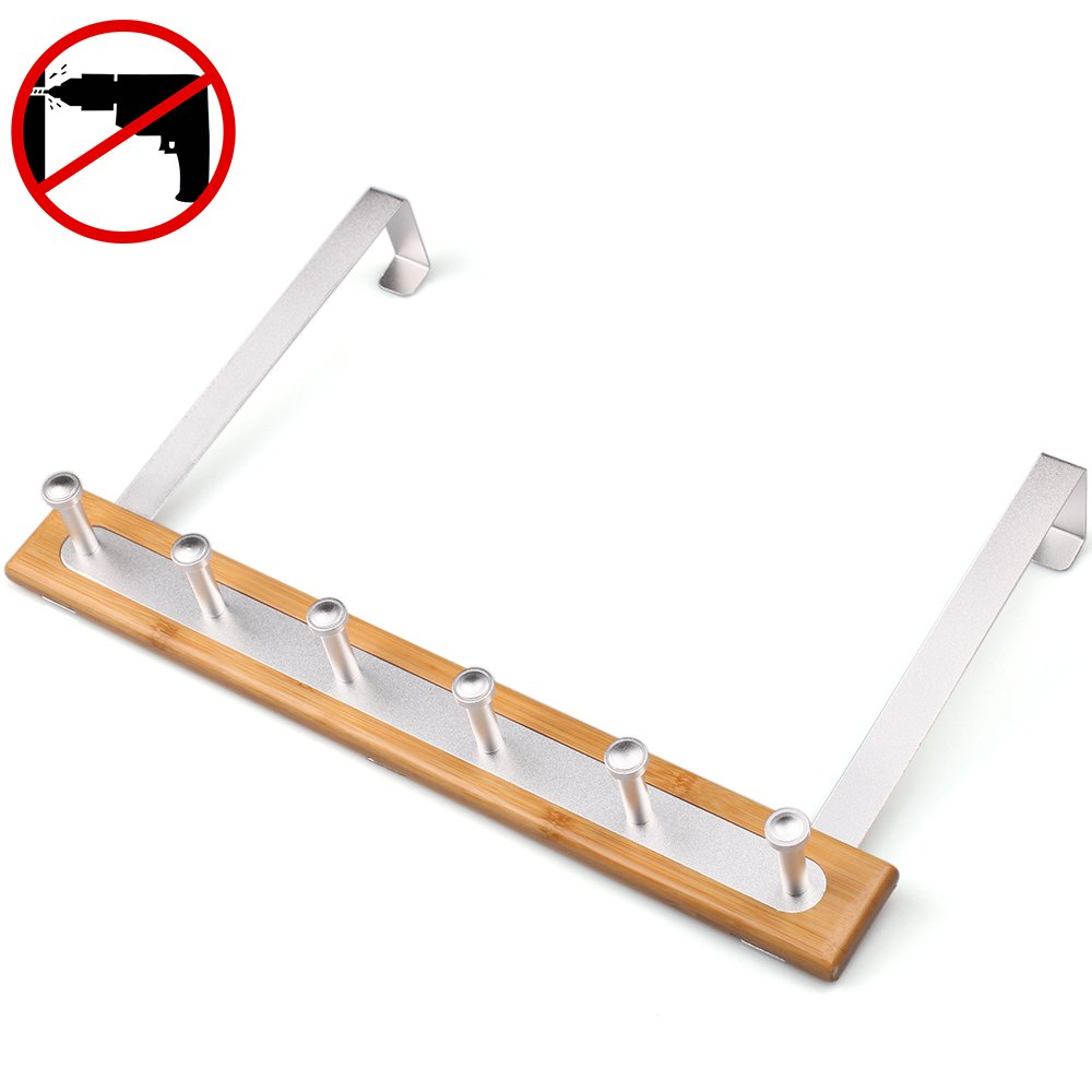 Gricol Over Door Towel Coat Hook Rack Nail Free, Self Adhesive, High Bearing Capacity, Space Aluminum&Bamboo, No Damage Wall Mount, Rustproof, Polished Finished