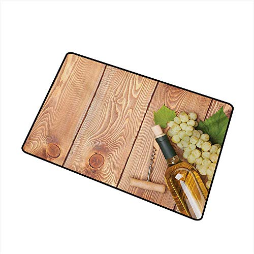 BeckyWCarr Winery Inlet Outdoor Door mat Wine Bottle and Bunch of Grapes on Wooden Table Background Romantic Italian Dinner Catch dust Snow and mud W31.5 x L47.2 Inch,Green Brown ()