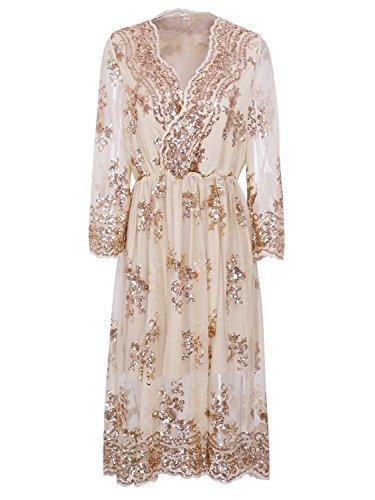 Soir L'or Clubwear Partie Robe Femme Manches Simplee Vêtements Long Sequin Midi