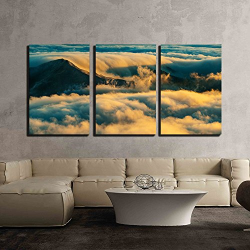 Beautiful Scenery with the Seas of Cloud at Sunset x3 Panels