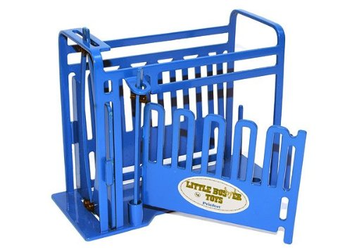 1//16th Scale Little Buster Toys Squeeze Chute Priefert Squeeze Chute with Sliding Gates in Blue
