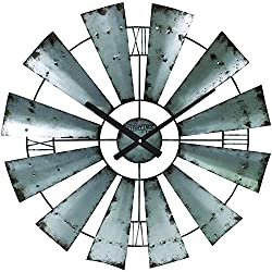 FirsTime & Co. 50083 Windmill Wall Clock, 24, Galvanized Gray