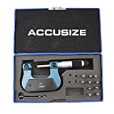 Accusize Industrial Tools 0-1'' by 0.001'' Screw Thread Micrometer with 5 Anvil in Fitted Box, S916-C750