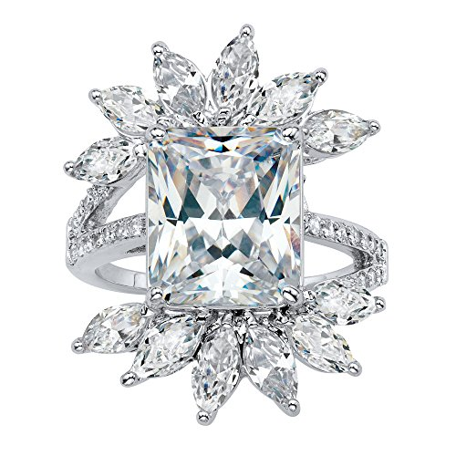 Palm Beach Jewelry Silver Tone Emerald and Marquise Cut Cubic Zirconia Starburst Ring Size 10