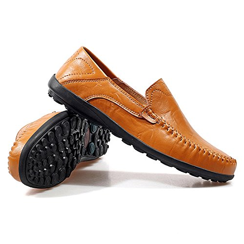 Flat Leisure 2018 Vamp Brown uomo Scarpe Loafer Heel 45 Men's Color Office Slouch Yellow EU Mocassini Mocassini Slip Dimensione On Brown shoes casual Yellow Fashion Hongjun TxPEzqwfqn