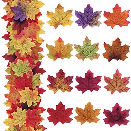 Faylapa 600 Pcs Artificial Maple Leaves,Multiple Colour Silk Simulation Faux Autumn Leaves - Perfect Natural Autumn Decorations,12 Colors ()