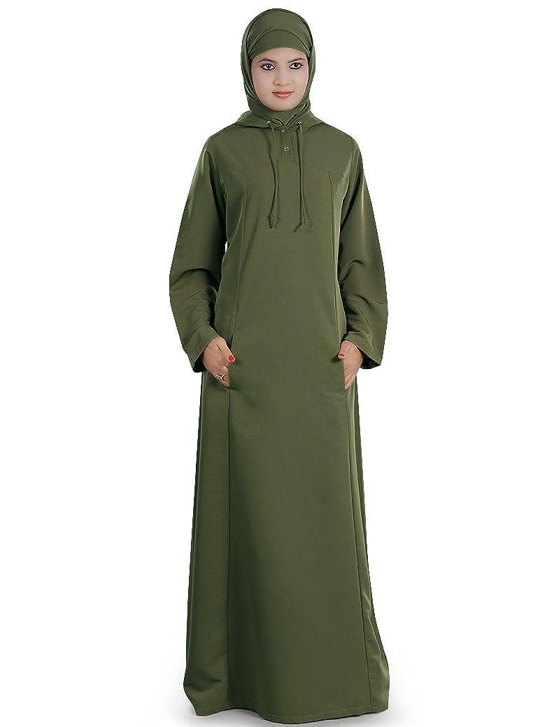 MyBatua Olive Green Kashibo Muslim Frauen Casual & Formal Wear Abaya AY-220 AY220