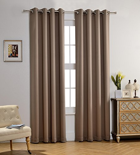 MYSKY HOME Solid Grommet top Thermal Insulated Window Blackout Curtain for Living Room, 52 x 95 Inch, Taupe, 1 Panel (Blocks Nursery Decor)