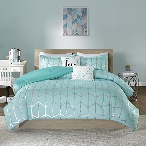Intelligent Design Raina Comforter Set Full/Queen Size - Aqua Silver, Geometric - 5 Piece Bed Sets - Ultra Soft Microfiber Teen Bedding for Girls Bedroom