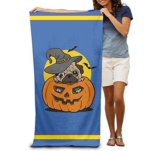 Halloween Black Pug Bat Adults Cotton Beach Towel