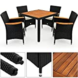 Poly Rattan Garden Furniture Dining Table Set Patio Rectangular Black 4 Seater Outdoor Wooden Plate Conservatory
