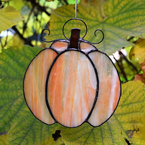 (ZangerGlass Stained Glass Pumpkin Suncatcher for Window Hanging or Thanksgiving Wall Decor for Home)