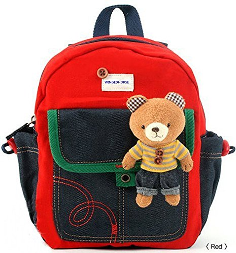 Kid Toddler Walking Safety Harness with Cute Teddy Bear/Bunny Backpack – Sold and Ship From USA (Red Teddy Bear) by WINGEDHORSE