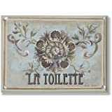 The Stupell Home Decor Collection La Toilette Green and Tan Floral Bathroom Wall Plaque