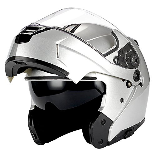 Shield Glossy (1Storm Motorcycle Modular Full Face Helmet Flip up Dual Visor/Sun Shield Glossy Silver)