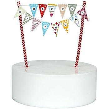 Amazoncom Mini Happy Birthday Cake Bunting Banner Cake Topper