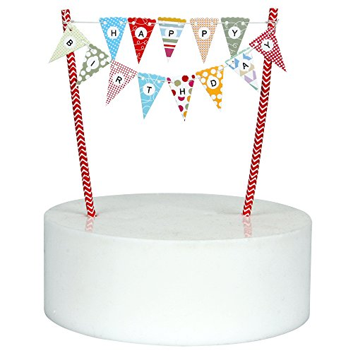 Mini Happy Birthday Cake Bunting Banner Cake Topper ,Multicolor Pennant Flags with Red Pole ,Mini Banner Decor (Red) (Happy Birthday Pennant Banner)