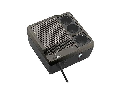 CoolBox SCUDO-600B - SAI/UPS Sistema de alimentación ininterrumpida de 600VA con 3 tomas schuko - Color Negro