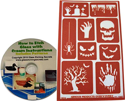 Reusable Creepy Halloween Stencils for Glass Etching or Painting: Skull, Spider, Graveyard, Bats, Zombie Hand, Etc. + How to Etch CD -