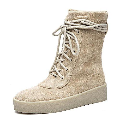 KHAKI piel zapatos Señoras Casual comodidad de 36 cordones cálido 40 botas corto tacón KHAKI R7qwZS1q