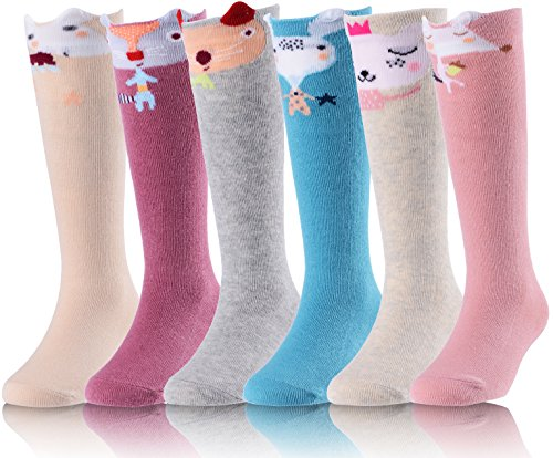 Little Girls Knee High Socks Stockings 6 Pairs Cute Animal Style Fit 6 Month - 6 Years Old Kids by MOGGEI