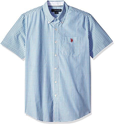 U.S. Polo Assn. Men's Short Sleeve Classic Fit Plaid Shirt, Flipflop Blue, L