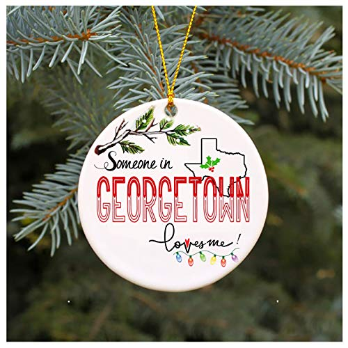 Christmas Ornaments 2019 Family Someone In Georgetown Texas Loves Me TX Xmas Gifts Cute Owl Family Keepsake Present Xmas Present Mom Dad Wife Husband Ceramic 3