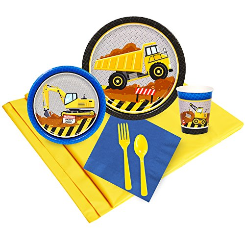 BirthdayExpress Construction Party Supplies - Party Pack for 16 Guests -