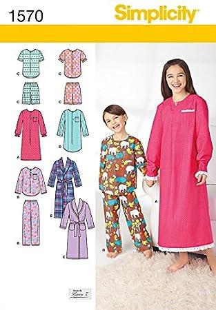 c8c9552a42c56f Simplicity Schnittmuster 1570 Schlafanzug, Pyjama, Nachthemd und Bademantel  Kinder