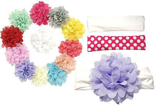 Price comparison product image Secret Life 12 pieces bundle interchangeable chiffon flower baby toddler headbands fabric bands extra comfort hold up well 2 base bands